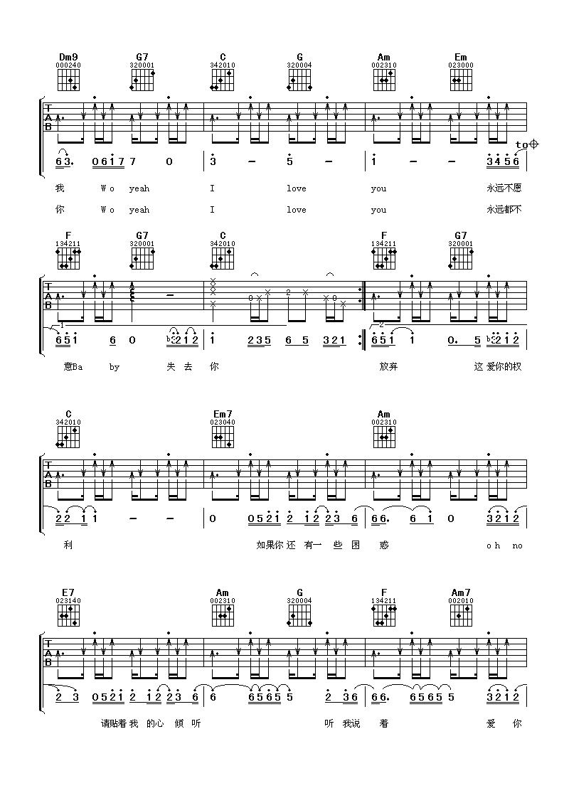 陶喆爱很简单 3 吉他谱简单版 原版 六线谱 图片谱 多谱网